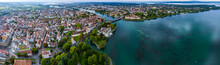 Aerial View Of The City Constance Beside The Lake Bodensee On A Rainy Day In Summer.