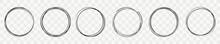 Hand Drawn Line Circle On Transparent Backdrop. Line Art Sketch Design Round Circular. Doodle Set Bubble Design Element. Vector Illustration.