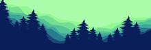 Morning Forest Mountain Flat Design Vector Illustration For Poster Template, Web Banner, Blog Banner, Website Background, Tourism Promo Poster, Adventure Design Backdrop And Poster Design Template