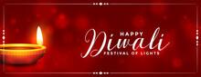 Shiny Happy Diwali Realistic Diya Banner Design