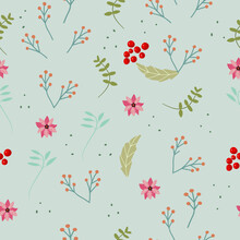 Christmas Seamless Pattern With Elements Of Winter Flowers, Poinsettia, Grey Background.