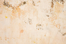 The Old Cement Wall, Painted And Putty, Peels Off And Collapses. Grunge Background Texture