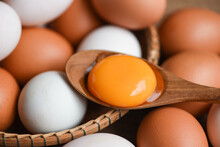Chicken Eggs And Duck Eggs Collect From Farm Products Natural In A Basket Healthy Eating Concept, Fresh Broken Egg Yolk