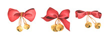 Christmas Decorations - Red Ribbons And Bells Isolated On White Background. Watercolor Christmas Card For Invitations, Greetings, Holidays And Decor.