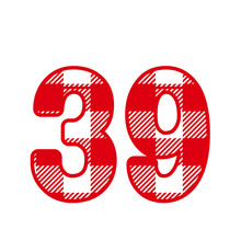 39, Number Thirty NineWith Red Plaid Pattern