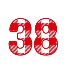 38, Number Thirty EightWith Red Plaid Pattern