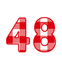 48, Number Forty EightWith Red Plaid Pattern