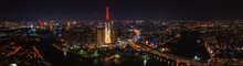 Panoramic Photo Of Drone View Of Ho Chi Minh City Skyline At Night