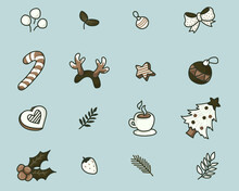 Christmas Toon Icons With Vintage Color