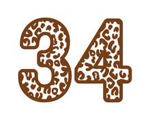34, Number Thirty FourWith Figures Leopard Print, Panther Skin