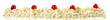 canvas print picture - Schlagsahne mit Kirschen und Krokant, Panorama  freigestellt - Hintergrund weiß