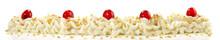 Schlagsahne Mit Kirschen Und Krokant, Panorama  Freigestellt - Hintergrund Weiß