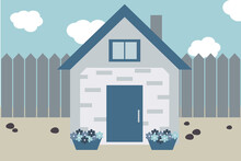 Plot With A House, Flower Beds, Fence And Stones. Vector Flat Illustration In Grayscale And Blue.