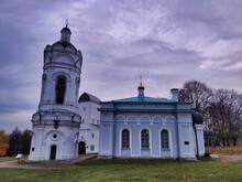 Kolomenskoye Estate,  St. George Church. View Of The Christian Church In Moscow. Overcast Weather. Russia