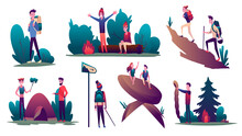 Hiking. Collection Of Young Peoples During Hiking Adventure Travel Or Camping Trip. Men And Women Pitching Tent, Climbing Mountain With Backpacking. Flat Colorful  Illustration. Set Of Tourists