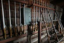 Vintage Flint Lock, Muzzle Loaded, Black Powder, Firearms In An Armory