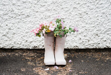 Flowers Planted In A Pair Of Rain Boots In An English Country Garden