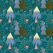 Merry Christmas Seamless Pattern With Simple Minimalist Trees On A Dark Background. Doodle Forest Cartoon Texture For Greeting Cards, Fabrics Or Wrapping Paper. New Year Holiday