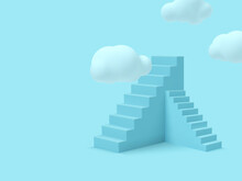Blue Stairs With Clouds.