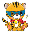 Tiger superhero in mask and cape