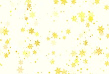 Light Red, Yellow Vector Layout With Bright Snowflakes.