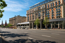 Moscow,  View On Tverskaya Street And The Ritz-Carlton Hotel. Russian Neoclassical & Eclectic Architecture And Urban Car Traffic On An Early Summer Morning
