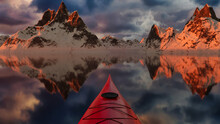 3D Rendering. Kayaking In Glacier Lake Water Surrounded By Rugged Alpine Mountain Landscape. Dramatic Sunset Sky.