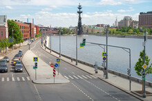 View On Moskva River,   Prechistenskaya Embankments And The Peter The Great Statue In Moscow City From Crimean  Bridge On A Spring Day