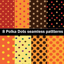 Collection Of 8 Polka Dots Seamless Patterns In Orange, Brown , Yellow And Black. Great For Halloween And Thanksgiving Wallpaper, Fabric, Textile, Home Décor And Website Background