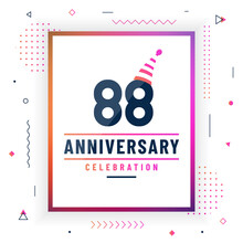 88 Years Anniversary Greetings Card, 88 Anniversary Celebration Background Free Vector.