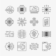 Sixteen Electronic Circuits Icons