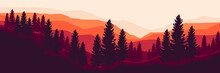 Pine Tree Forest At Mountain Landscape Vector Illustration Design For Wallpaper Design, Design Template, Background Template, And Tourism Design Template