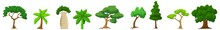 Trees Icons. Trees, Forest, Park Vector Green Icons Set. Flat Vector Mangrove Trees Set. Tree Icons Set In A Modern Pictogram Style And Flat Style.