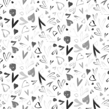 Trendy Vector Seamless Pattern With Flying Hearts. Watercolor Minimalistic Abstract Hand Painted Illustration For Valentines Day Wrapping Paper Or Invitation Card Background In Black White Colors