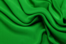 Texture, Background, Pattern. Texture Of Green Silk Or Cotton Or Wool Fabric. Beautiful Pattern Of Fabric.