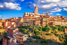 Siena, Tuscany, Italy - Torre Del Mangia And The Dome
