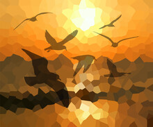 Abstraction Flying Seagulls At Sunset. Vector Illustration