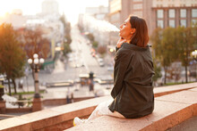 Woman At Sunset With Amazing City View, Enjoying Warm Days, Freedom, Positive Vibes, Smoking  Electronic Cigarette