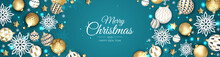 Merry Christmas And Happy New Year. Xmas Festive Background With Realistic 3d Objects, White And Gold Balls.