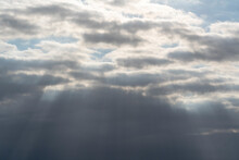 Ray Tuft (light Tuft), Sun Rays Fight Through A Gray Cloud Layer, Cloud Rays, Twilight Rays, Concept Of Hope, Religion And Divinity