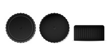 Black Bottle Caps Mockup Template. Serrated Metal And Plastic Caps For Closing Containers Realistic Items For Factory And Home Vector Canning