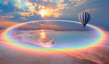 Hot Air Balloon Flying Over Spectacular Pamukkale With Amazing Rainbow - Natural Travertine Pools And Terraces In Pamukkale. Cotton Castle In Southwestern Turkey,