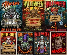 Halloween Colorful Vintage Posters Collection