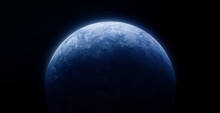 Planet Earth In The Outer Black Space. Blue Planet Surface. Abstract Wallpaper With Space And Dark Background. Elements Of This Image Furnished By NASA