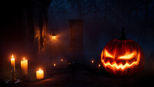 Creepy Halloween Graveyard Illustration With Scary Pumpkin And Candles.