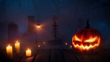 Jack O' Lantern In Creepy Woodland Graveyard. Halloween Background.