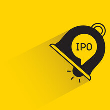 Ipo Ring Bell With Shadow On Yellow Background