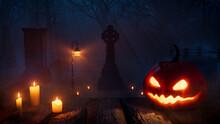 Halloween Illustration With Eerie Candlelit Tombstones And Illuminated Pumpkin.