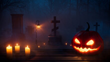 Eerie Halloween Graveyard Illustration With Pumpkin Decoration And Candles.