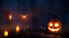 Halloween Pumpkin Decoration With Candles, In A Ghostly Forest Graveyard At Night.